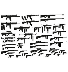 graphic black silhouette weapon and firearm icons vector image