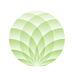 Green lotus circle - symbol of yoga wellness vector