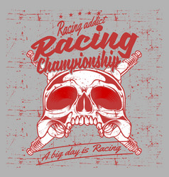 grunge style vintage skull and spark plug racing vector image