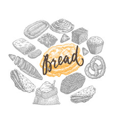 hand drawn bakery concept vector image