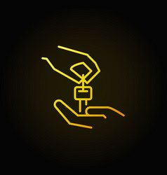 Hands with car key yellow icon vector