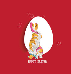 Happy easter egg and doodle bunny greeting card vector