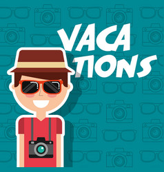 Happy man tourist vacations with sunglasses and vector