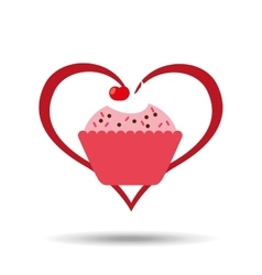 Heart cartoon sweet cup cake pink chips and cherry vector