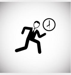 Hurrying businessman runs on white background vector
