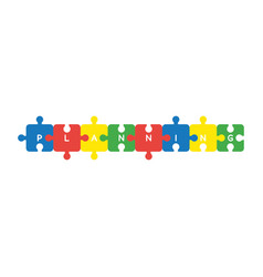 icon concept of eight pieces planning jigsaw vector image