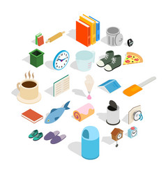 interior icons set isometric style vector image