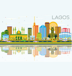 Lagos skyline with color buildings blue sky and vector