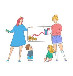 lgbt family with kids saves money parents vector image