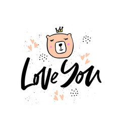 Love you hand drawn lettering vector