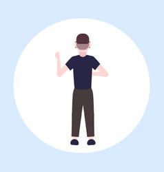 Man wearing modern 3d glasses guy experiencing vector