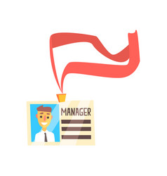 manager id card with photo and ribbon colorful vector image