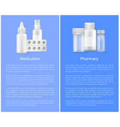 medication and pharmacy poster medical bottles set vector image