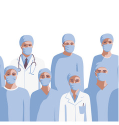 medicine professionals in medical mask seamless vector image