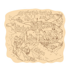 Medieval fantasy map drawing vector