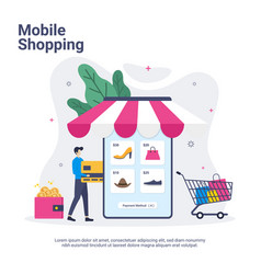 mobile shopping concept with mobile store in flat vector image