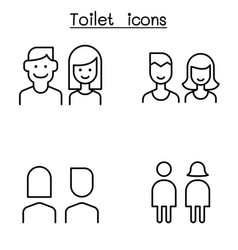 Modern toilet restroom bathroom symbol set in vector