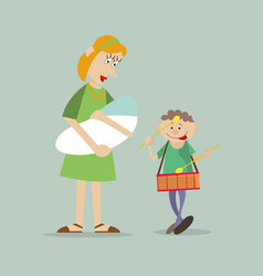 Mother with children on walk vector