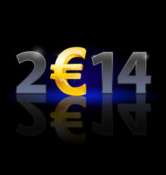 New year 2014 metal numerals with euro instead of vector
