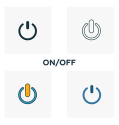 On off icon set four elements in diferent styles vector