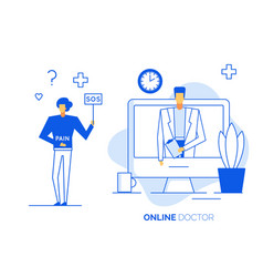 online doctor concept consultation technology vector image