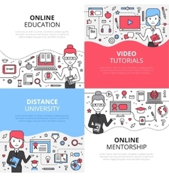 Online Education Design Concept Set vector