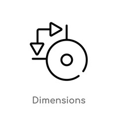 Outline dimensions icon isolated black simple vector