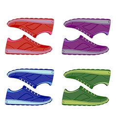 Pair unisex colored suede sneakers shoes side view vector image