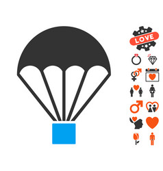 parachute icon with love bonus vector image