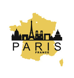 Paris and map france vector