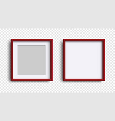 photo frames isolated realistic square dark red vector image