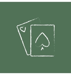 Playing cards icon drawn in chalk vector image