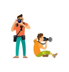 Professional photographers taking photos cameras vector