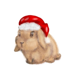 Rabbit with christmas hat vector