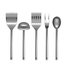 realistic metal kitchen utensils set vector image