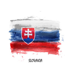 realistic watercolor painting flag slovakia vector image