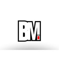 Red and black alphabet letter bm b m logo vector