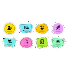 Report add gift and identity confirmed icons set vector