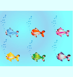 Seamless pattern with fish swimming in sea vector