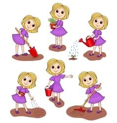 Set of girls in the garden vector image