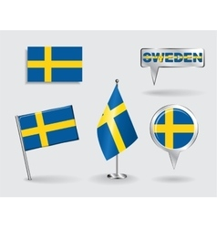Set of Swedish pin icon and map pointer flags vector