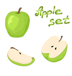 set of whole green apple half an apple and a vector image