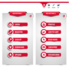 set red web buttons vector image