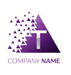 Silver letter t logo in the purple pixel triangle vector