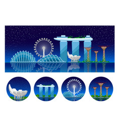 singapore panoramic view of the city at night vector image