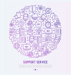 support service concept in circle vector image