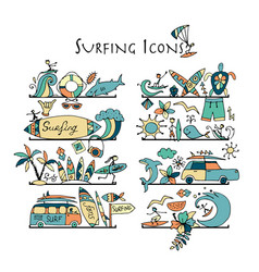 surfing icons collection shelves for your design vector image