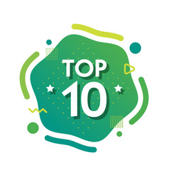 top 10 ten words on green abctract background vector image
