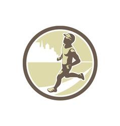 Triathlete Running Side Circle Retro vector