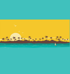 tropical island paradise seascape background with vector image